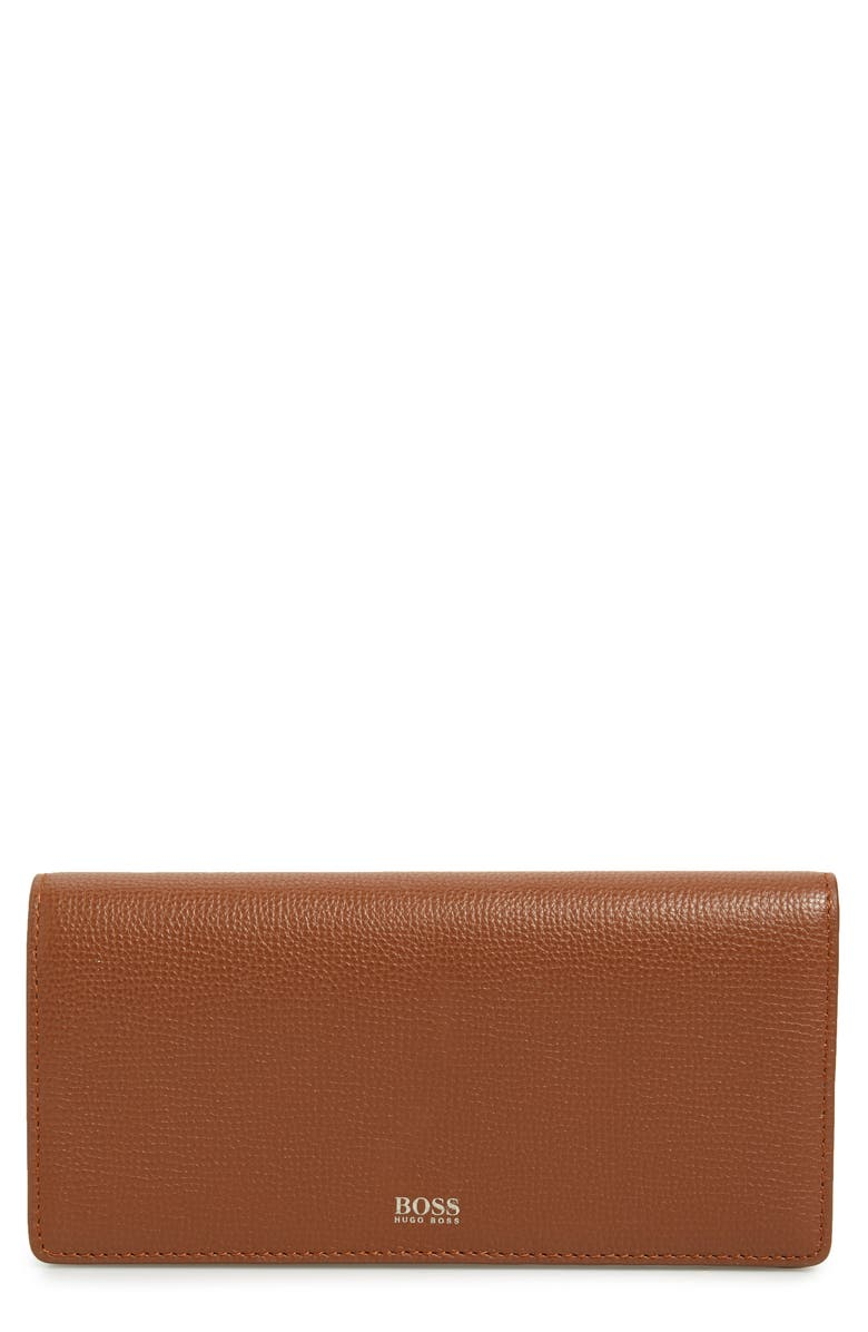 BOSS Taylor Leather Continental Wallet, Main, color, LIGHT/ PASTEL BROWN