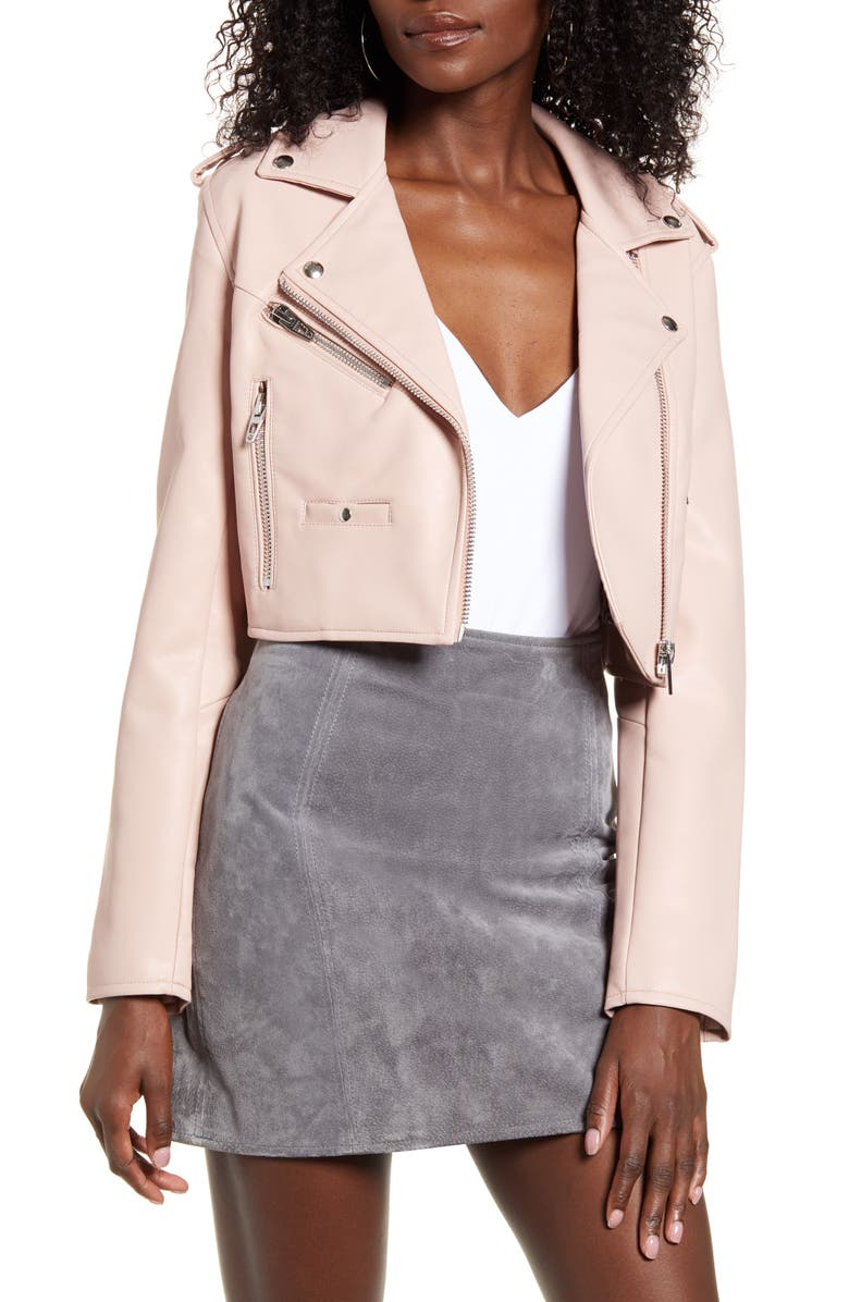 BLANKNYC Crop Faux Leather Moto Jacket, Main, color, 650