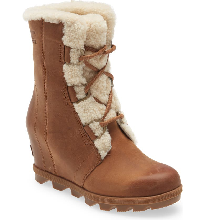 SOREL Joan of Arctic<sup>™</sup> Wedge II Genuine Shearling Lace-Up Boot, Main, color, VELVET TAN LEATHER