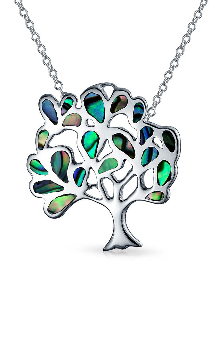 BLING JEWELRY Sterling Silver Rainbow Abalone Inlay Family Tree of Life Celtic Pendant Necklace, Main, color, MULTICOLOR