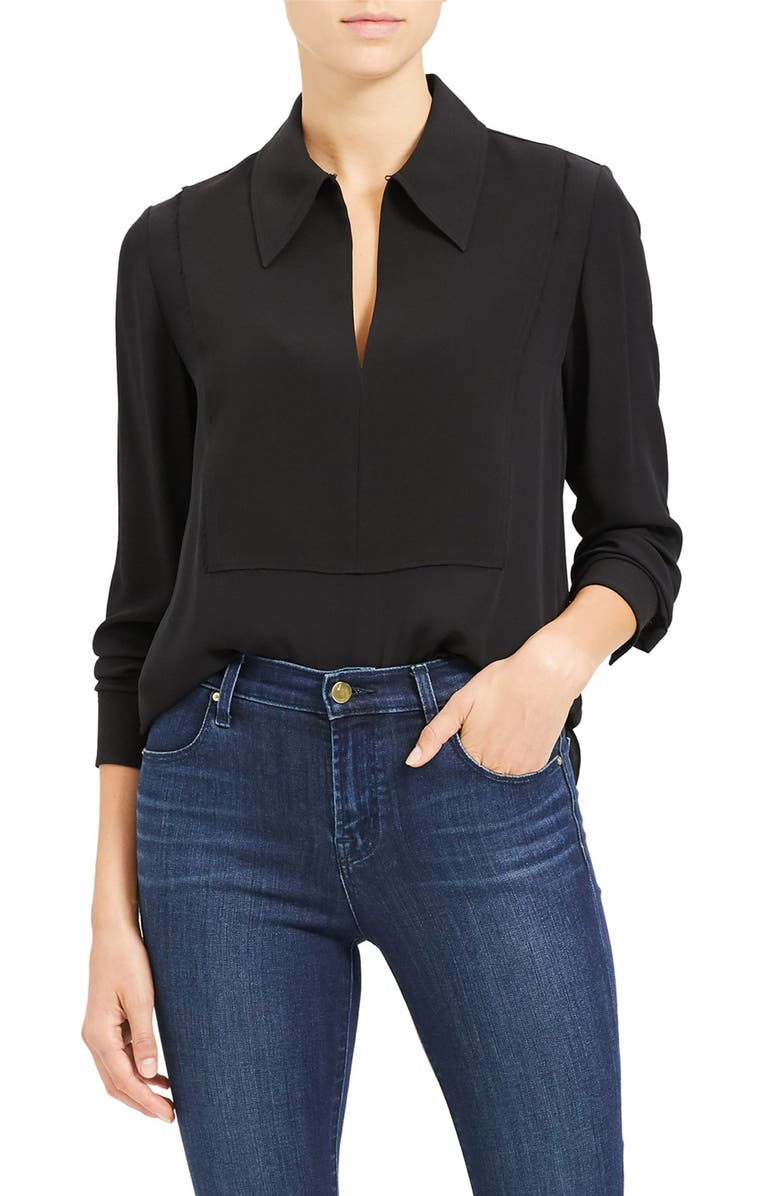 THEORY Popover Classic Silk Blouse, Main, color, 001