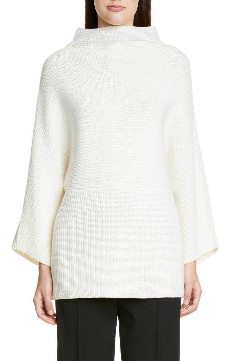 ST. JOHN COLLECTION Luxe Cashmere Rib Sweater, Main, color, 100