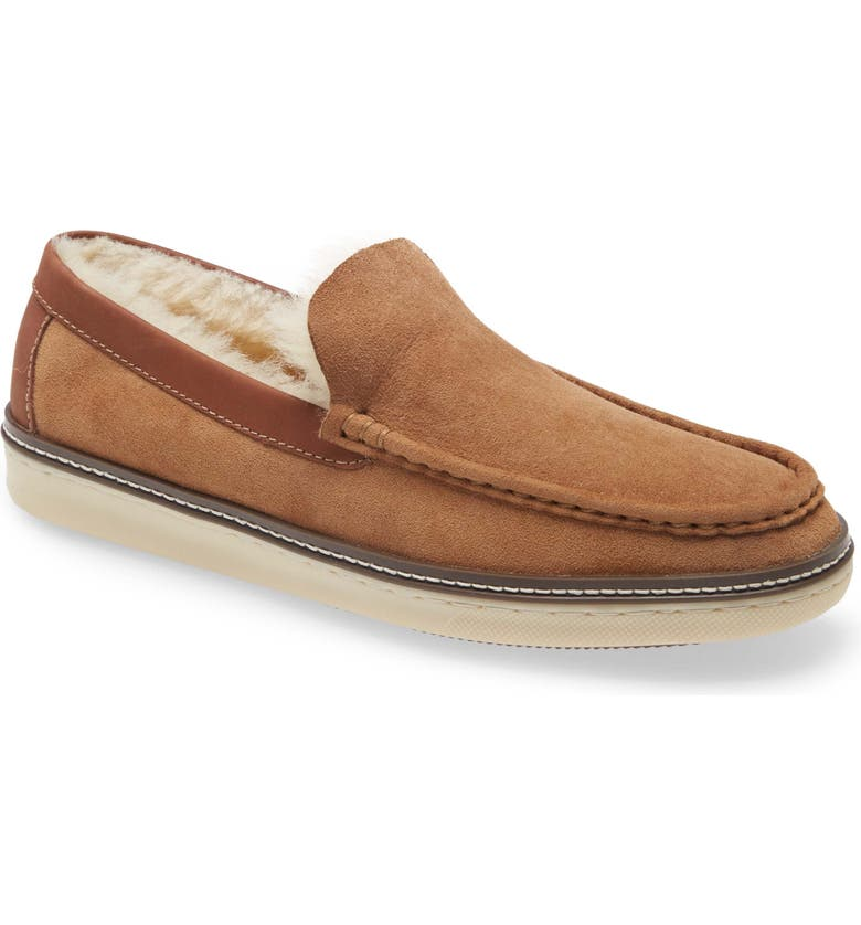 JOHNSTON & MURPHY McGuffey Genuine Shearling Lined Slip-On, Main, color, CHESTNUT