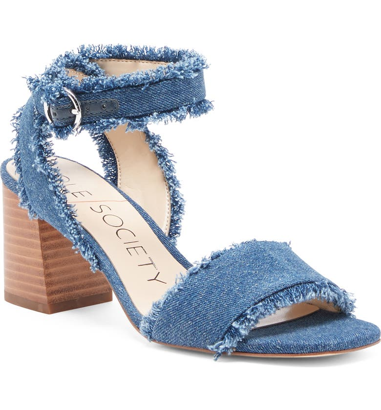 SOLE SOCIETY Jordenya Sandal, Main, color, BLUE FABRIC