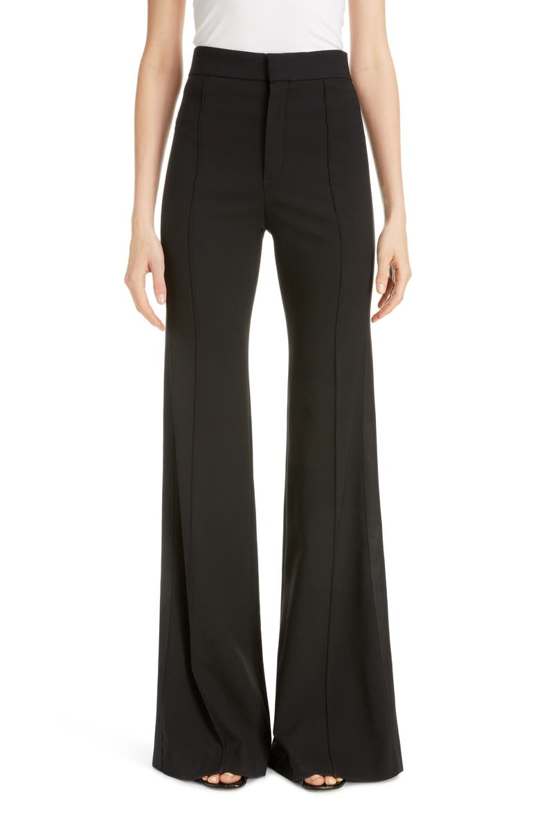 CHLOÉ Side Stripe Pintucked Stretch Wool Flare Pants, Main, color, 001