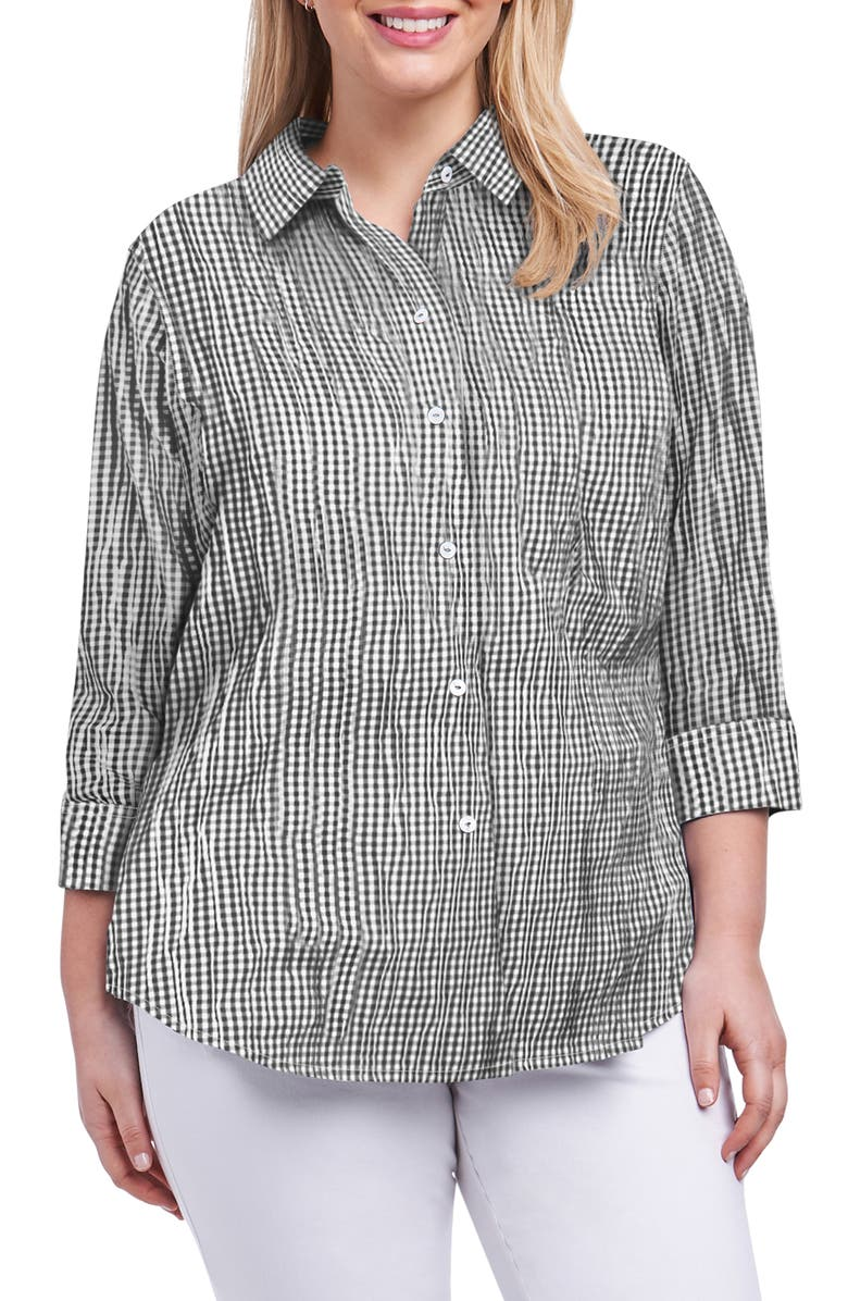 FOXCROFT Sue Crinkle Mixed Gingham Shirt, Main, color, 001