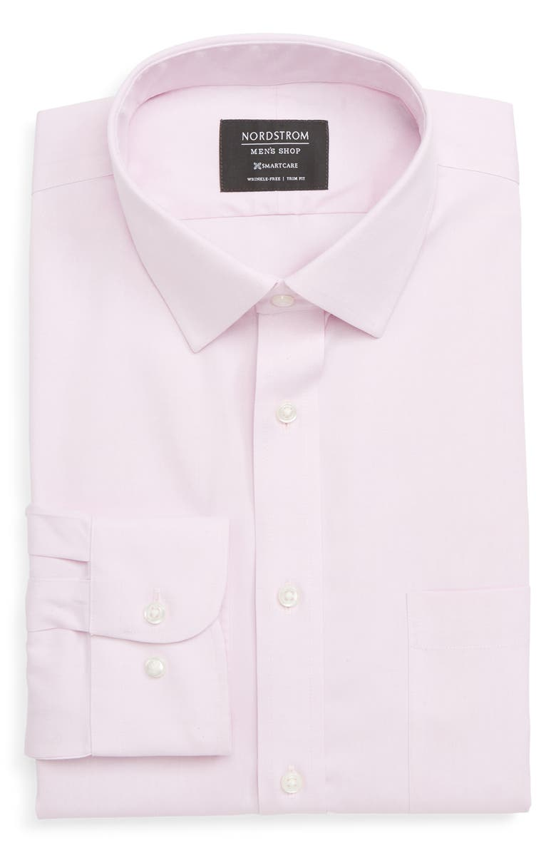 NORDSTROM Smartcare<sup>™</sup> Trim Fit Solid Dress Shirt, Main, color, PINK