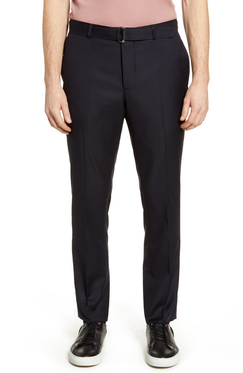 OFFICINE GÉNÉRALE Pinpoint Slim Fit Wool Pants, Main, color, 410