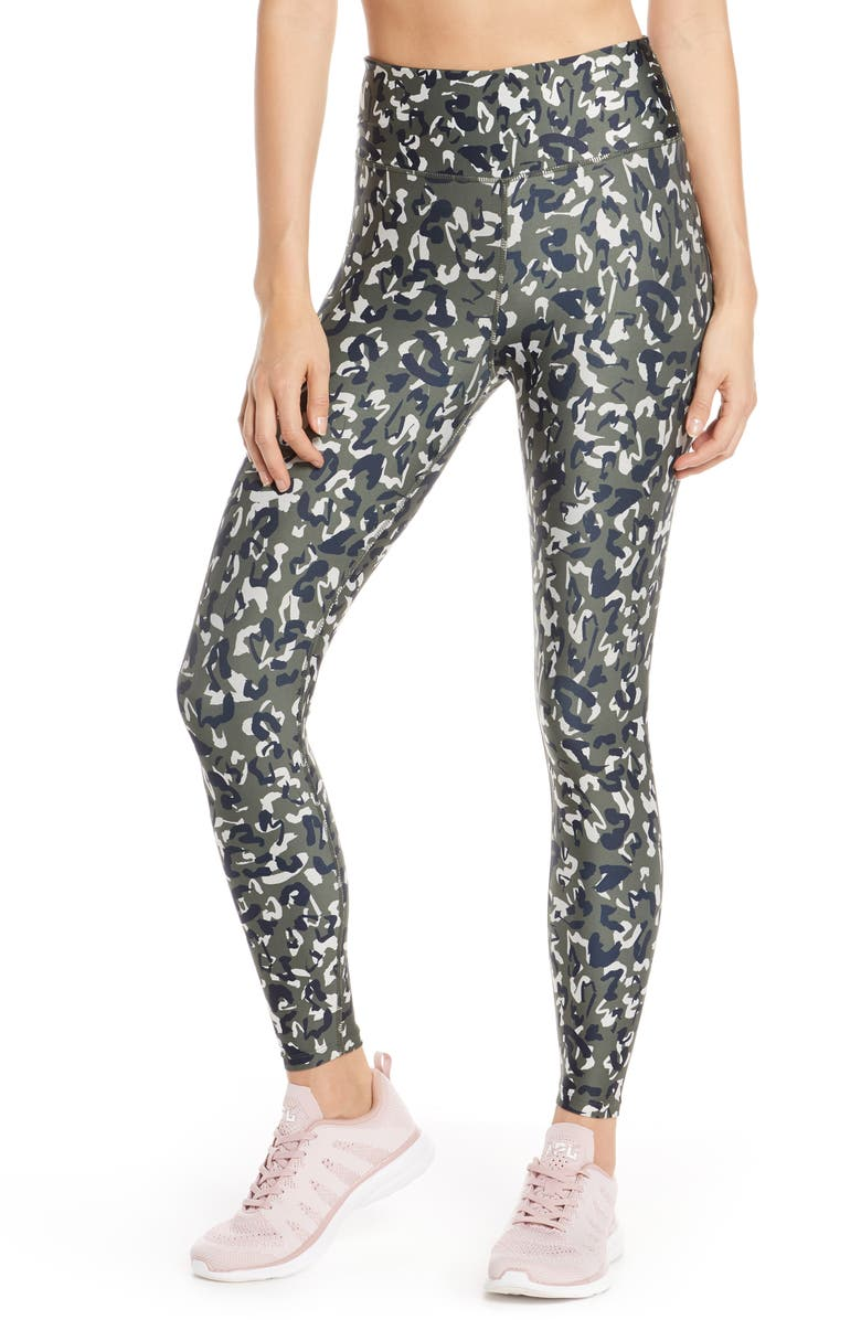 SOUL BY SOULCYCLE High Waist Leopard Camo Leggings, Main, color, 300