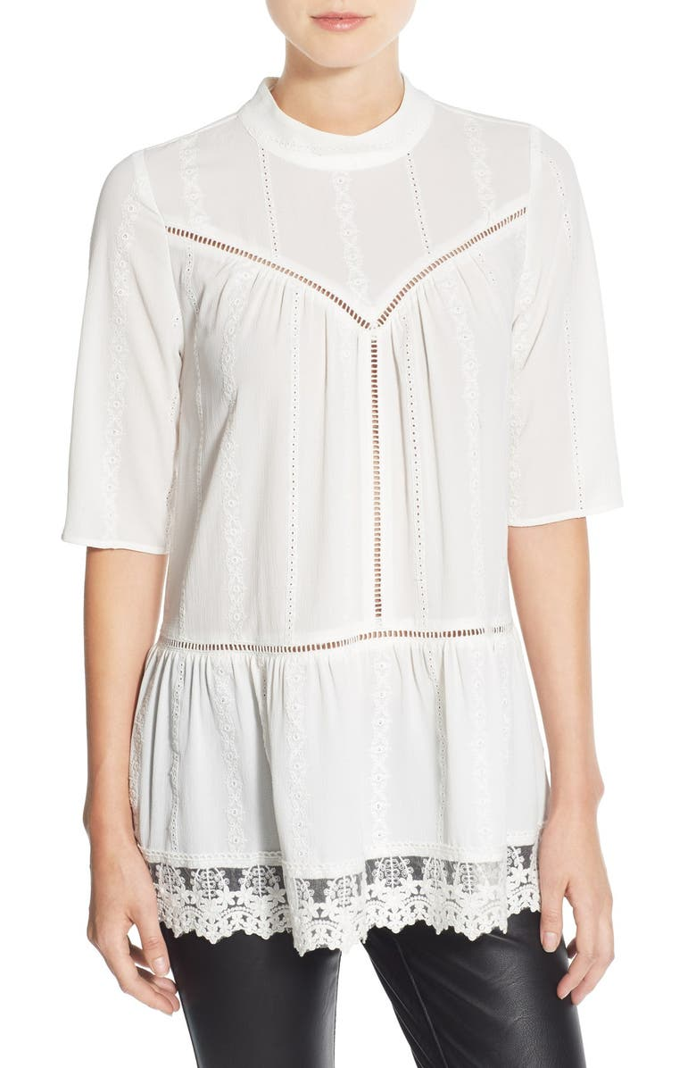LEITH Lace Hem Peasant Tunic, Main, color, IVORY