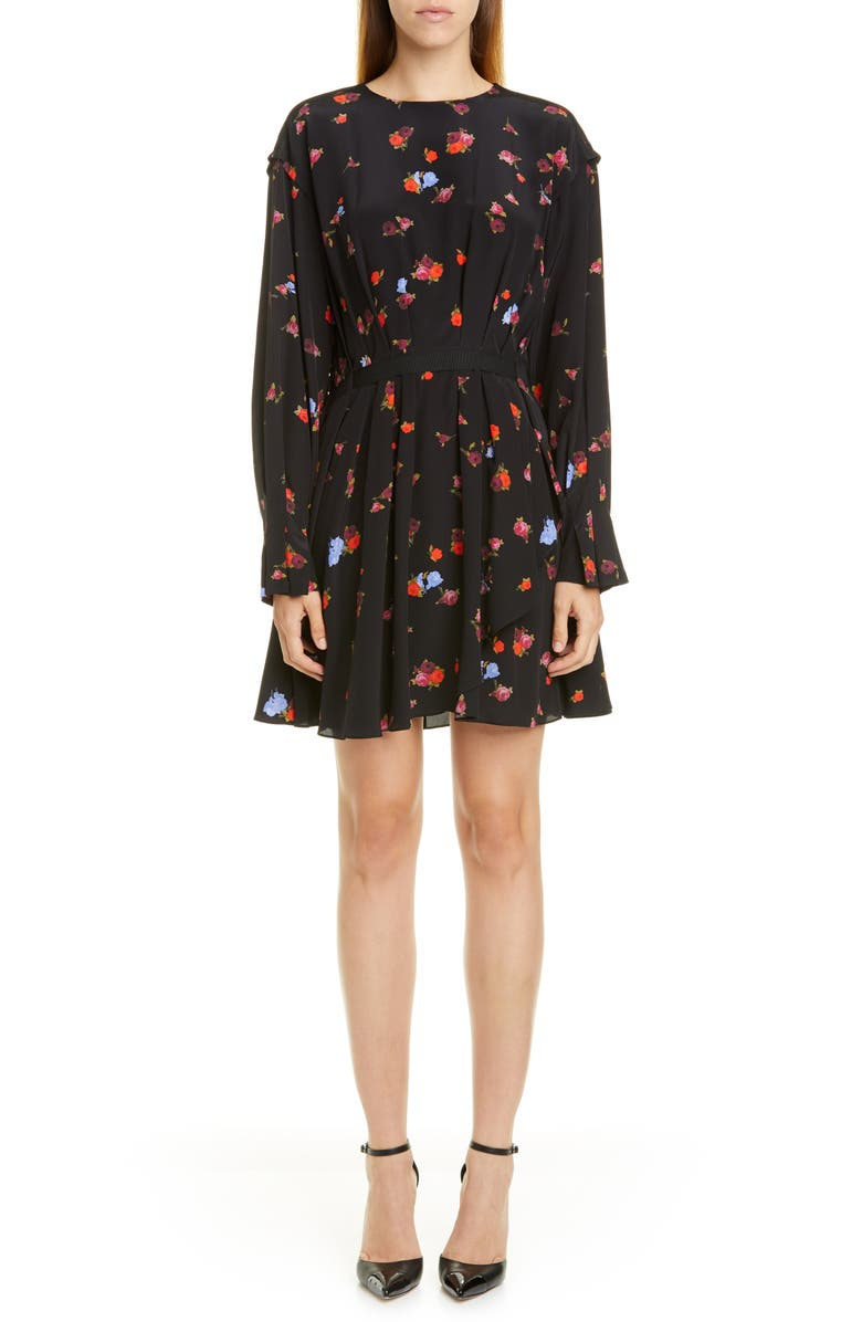 JASON WU Floral Long Sleeve Silk Dress, Main, color, 001