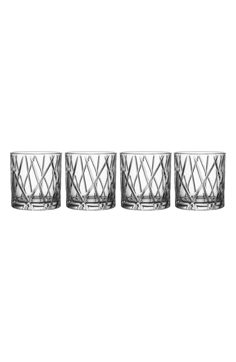 ORREFORS City Set of 4 Crystal Double Old Fashioned Glasses, Main, color, CLEAR