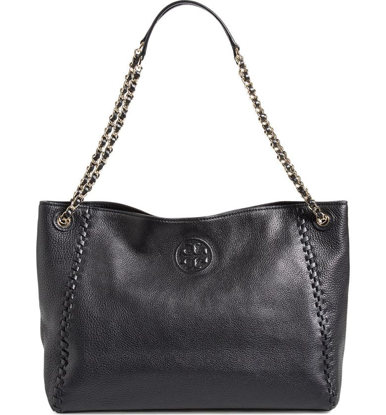 TORY BURCH 'Marion' Slouchy Shoulder Tote, Main, color, Black