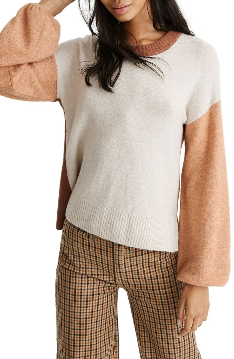 MADEWELL Payton Coziest Yarn Colorblock Pullover, Main, color, 250