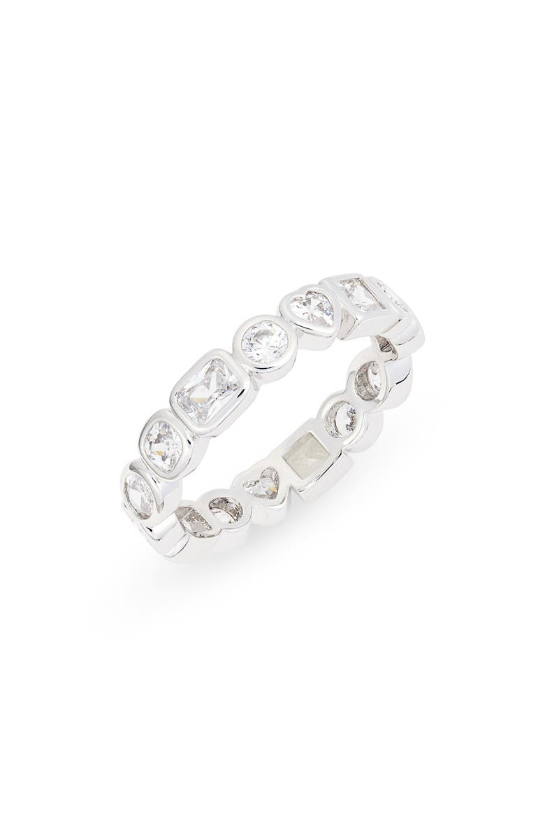 NORDSTROM Cubic Zirconia Bezel Band Ring, Main, color, CLEAR- SILVER