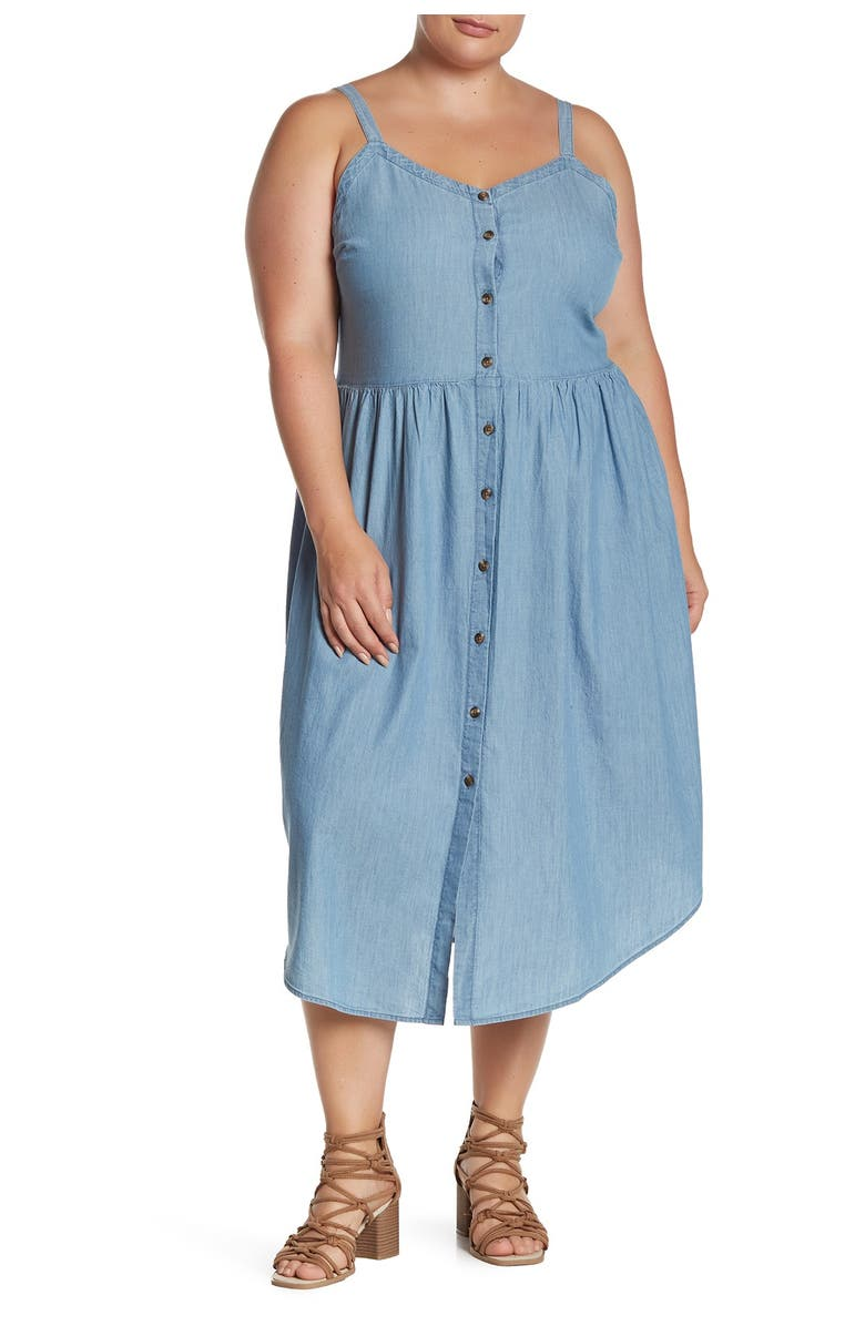 NORDSTROM RACK Chambray Midi Button Front Dress, Main, color, MEDIUM WASH