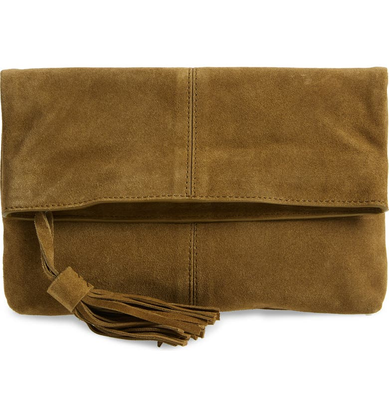 LEITH Suede Clutch, Main, color, 300