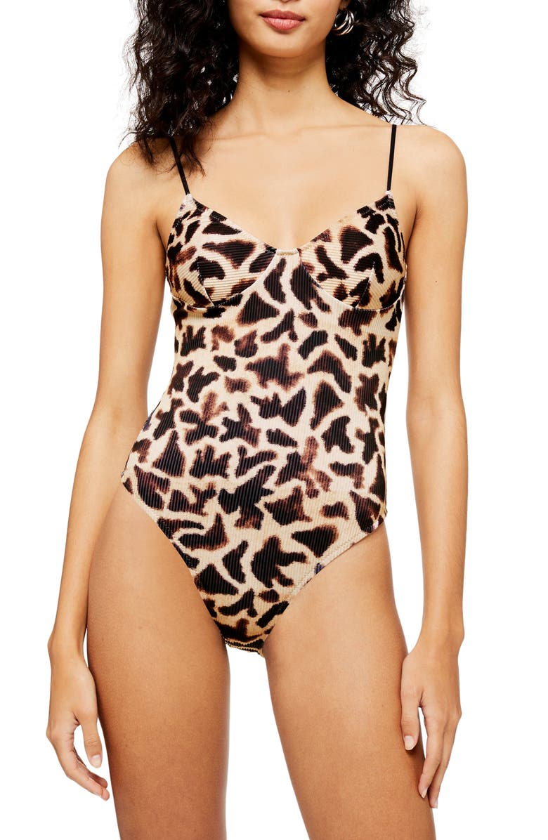 TOPSHOP Giraffe Print Ribbed One-Piece Swimsuit, Main, color, 250