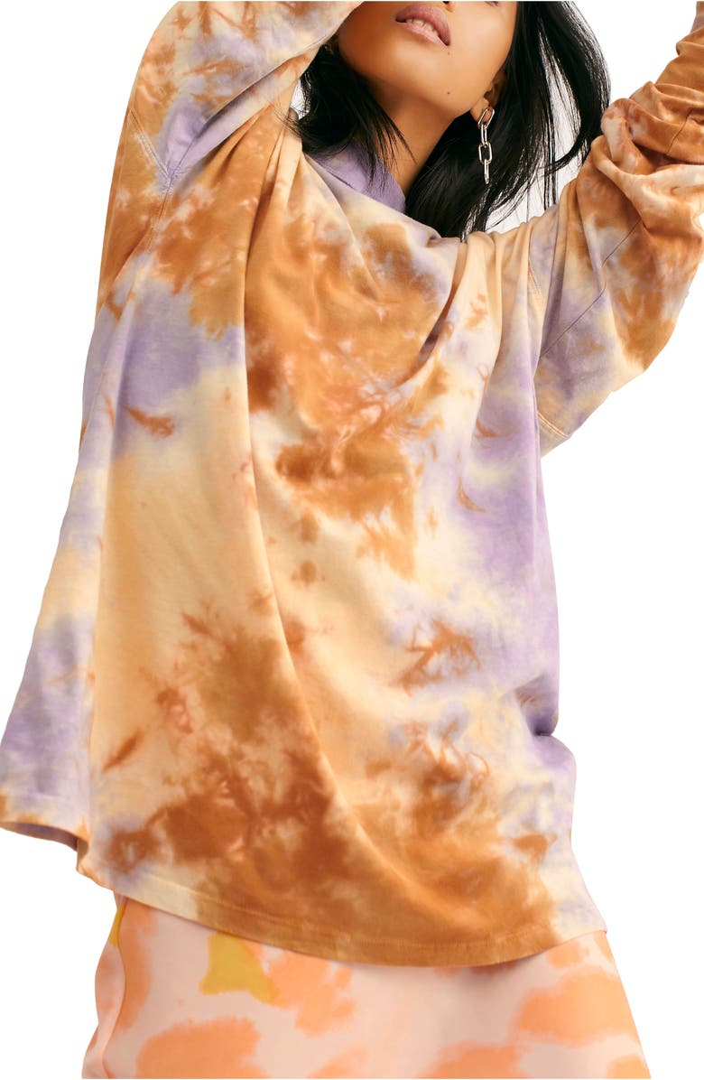 FREE PEOPLE Be Free Tie Dye Oversize Long Sleeve T-Shirt, Main, color, LILAC WOODS