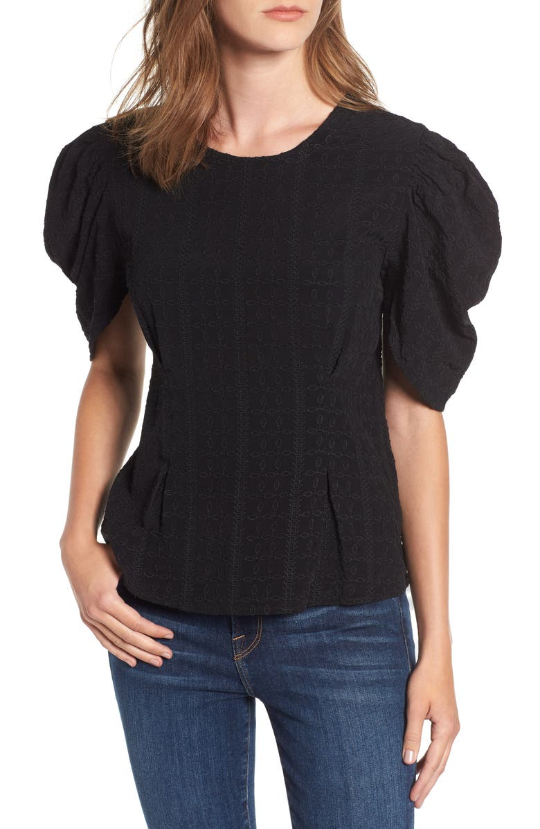 HINGE Embroidered Puff Sleeve Top, Main, color, 001