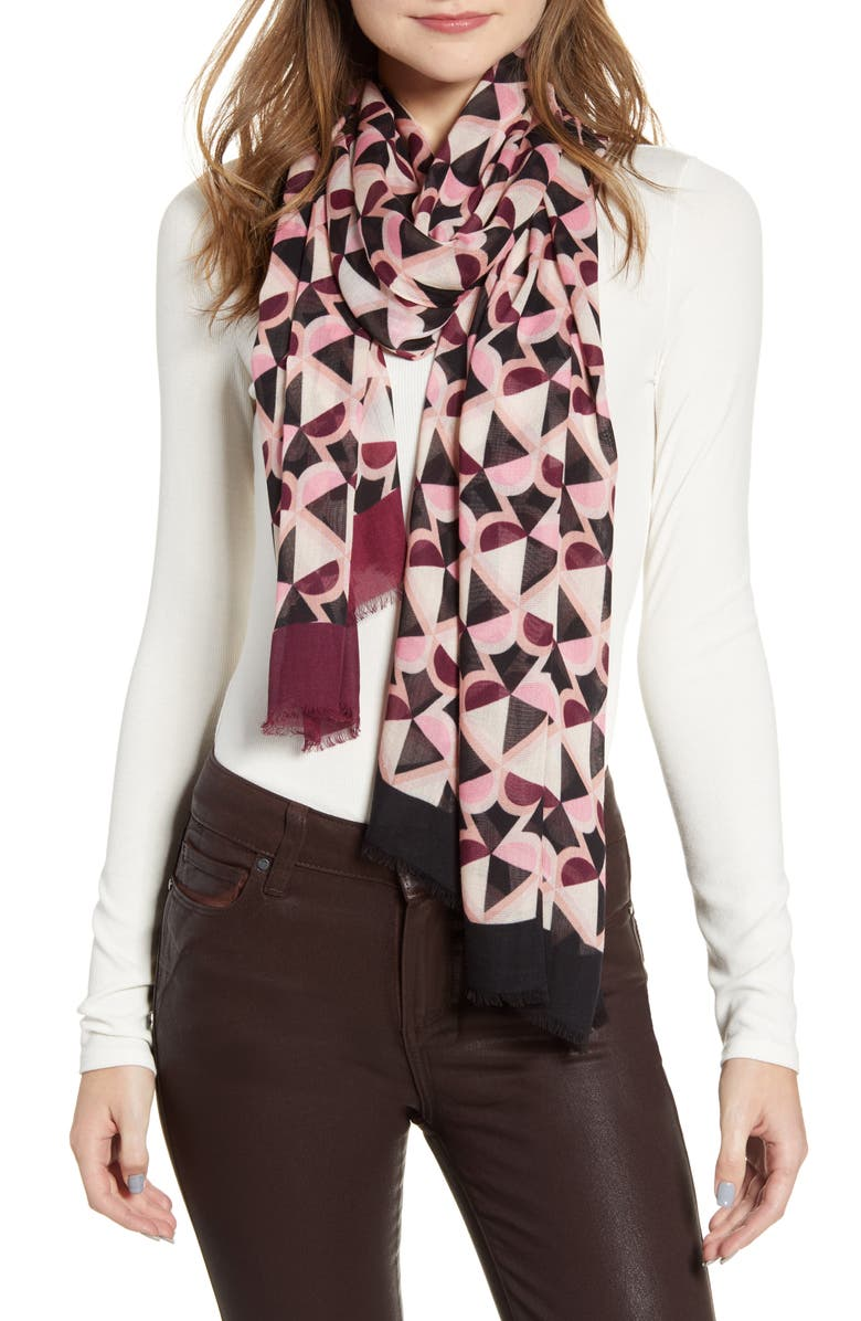 KATE SPADE NEW YORK honeycomb oblong scarf, Main, color, 250