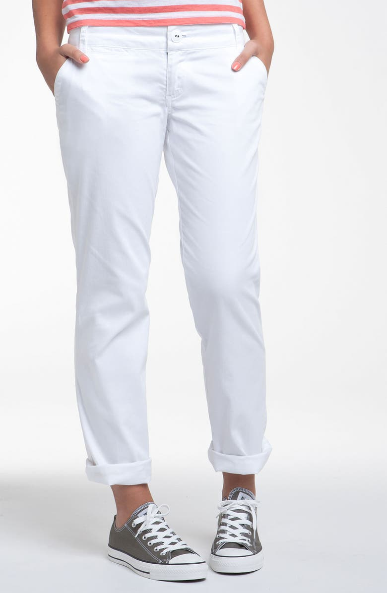 JOLT Roll Cuff Classic Chinos, Main, color, WHITE