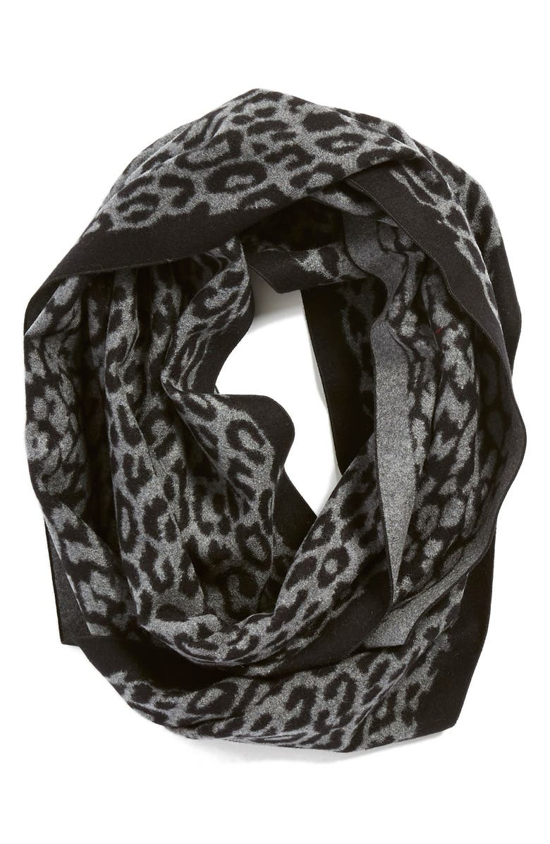 CHELSEY Leopard Print Silk Infinity Scarf, Main, color, 020