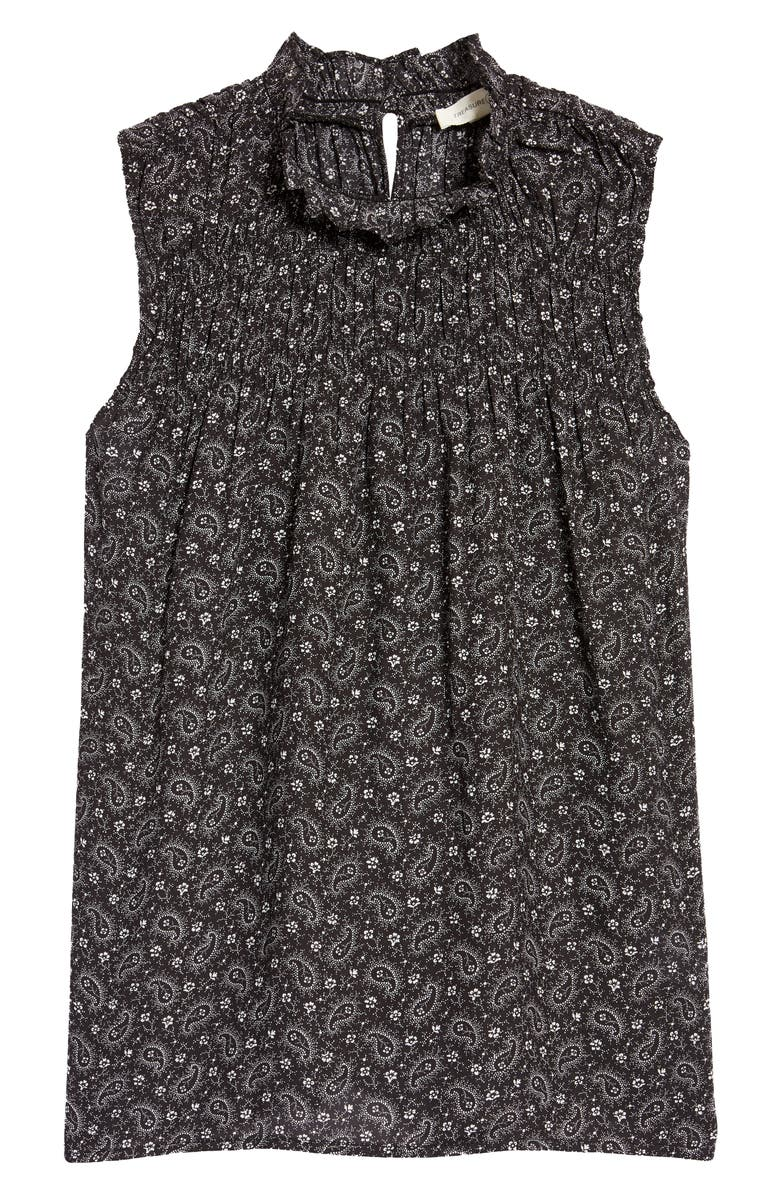 TREASURE & BOND Shirred Sleeveless Top, Main, color, BLACK FLORAL PAISLEY