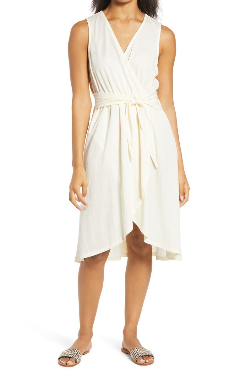 BOBEAU Rowan Sleeveless Faux Wrap Dress, Main, color, WHISPER WHITE