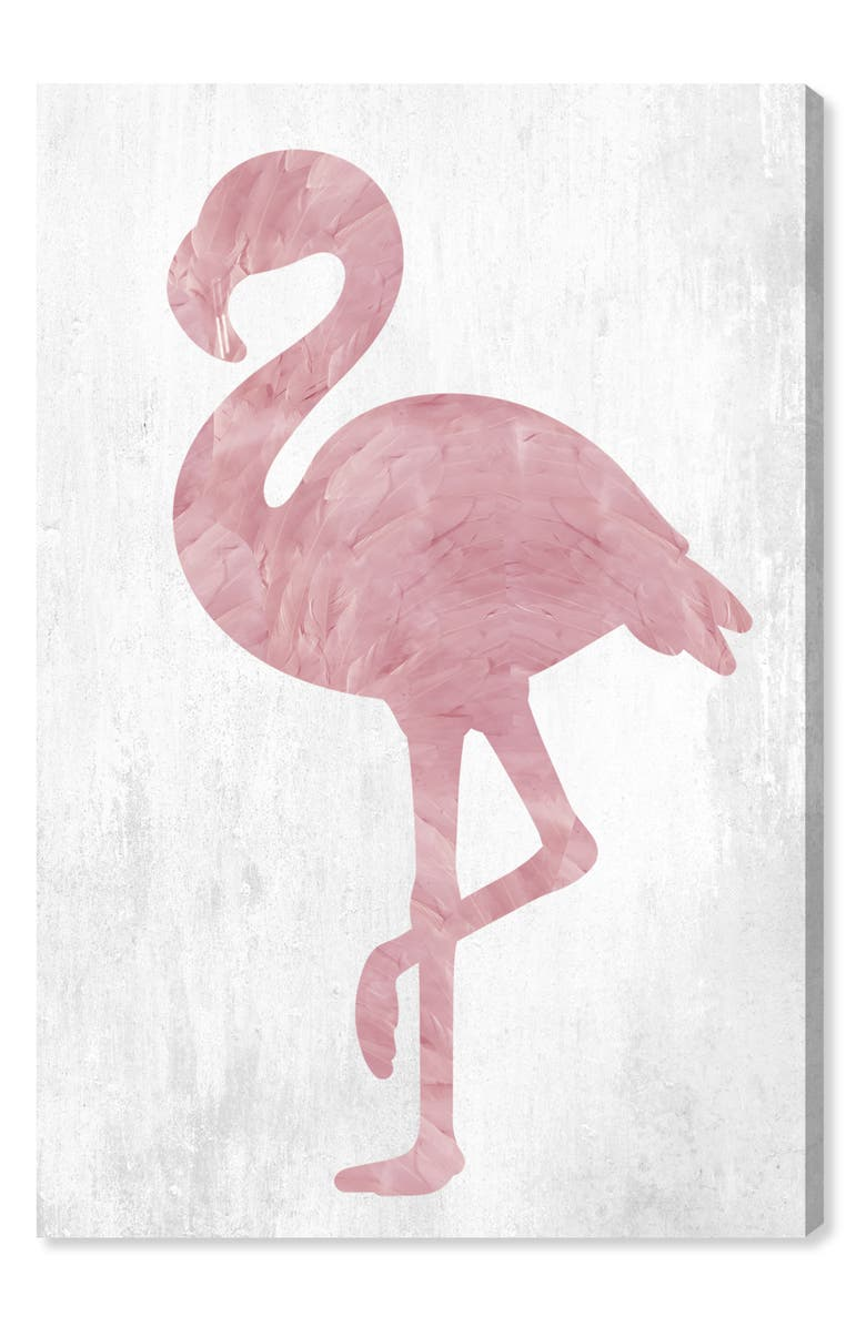OLIVER GAL Pink Feathered Flamingo Canvas Wall Art, Main, color, White