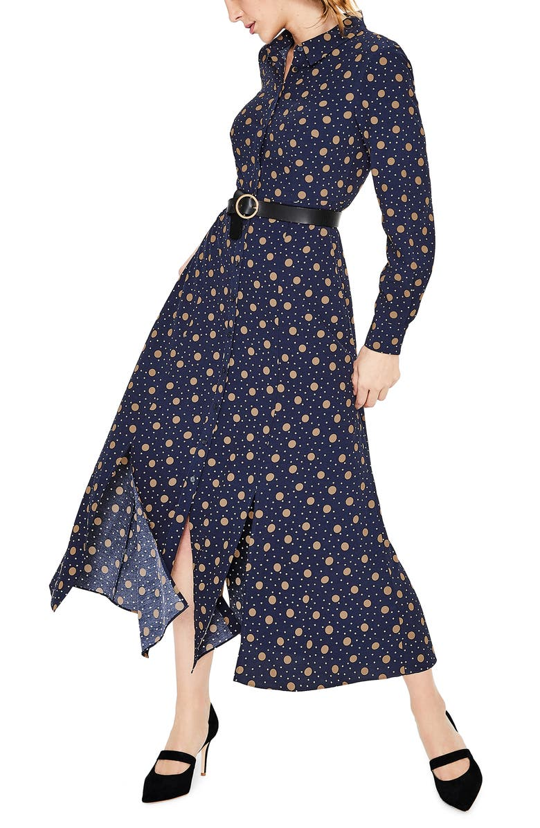 BODEN Polka Dot Midi Shirtdress, Main, color, 414
