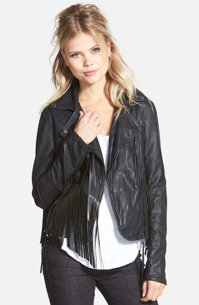 BLANKNYC 'Let It Ride' Faux Leather Jacket, Main, color, BLACK