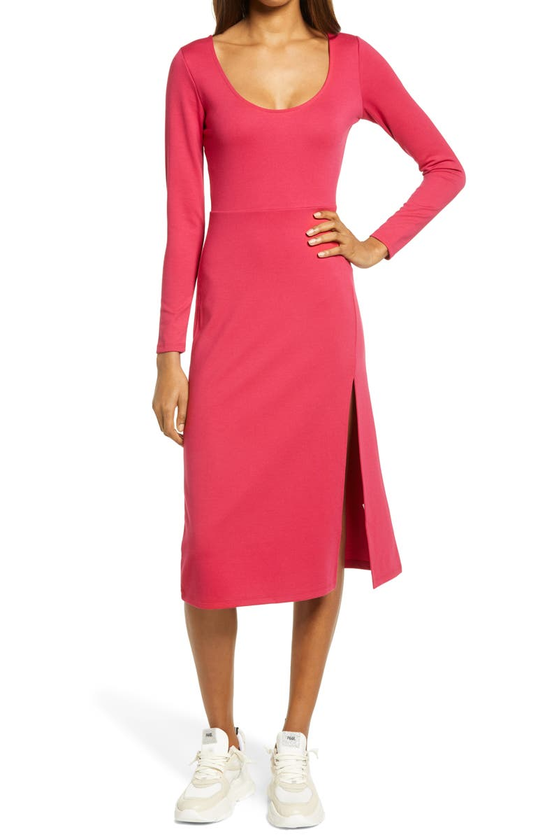 LEITH Long Sleeve Side Slit Midi Dress, Main, color, RED BEETROOT
