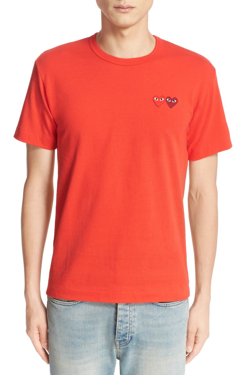 COMME DES GARÇONS PLAY Twin Hearts Slim Fit Jersey T-Shirt, Main, color, RED