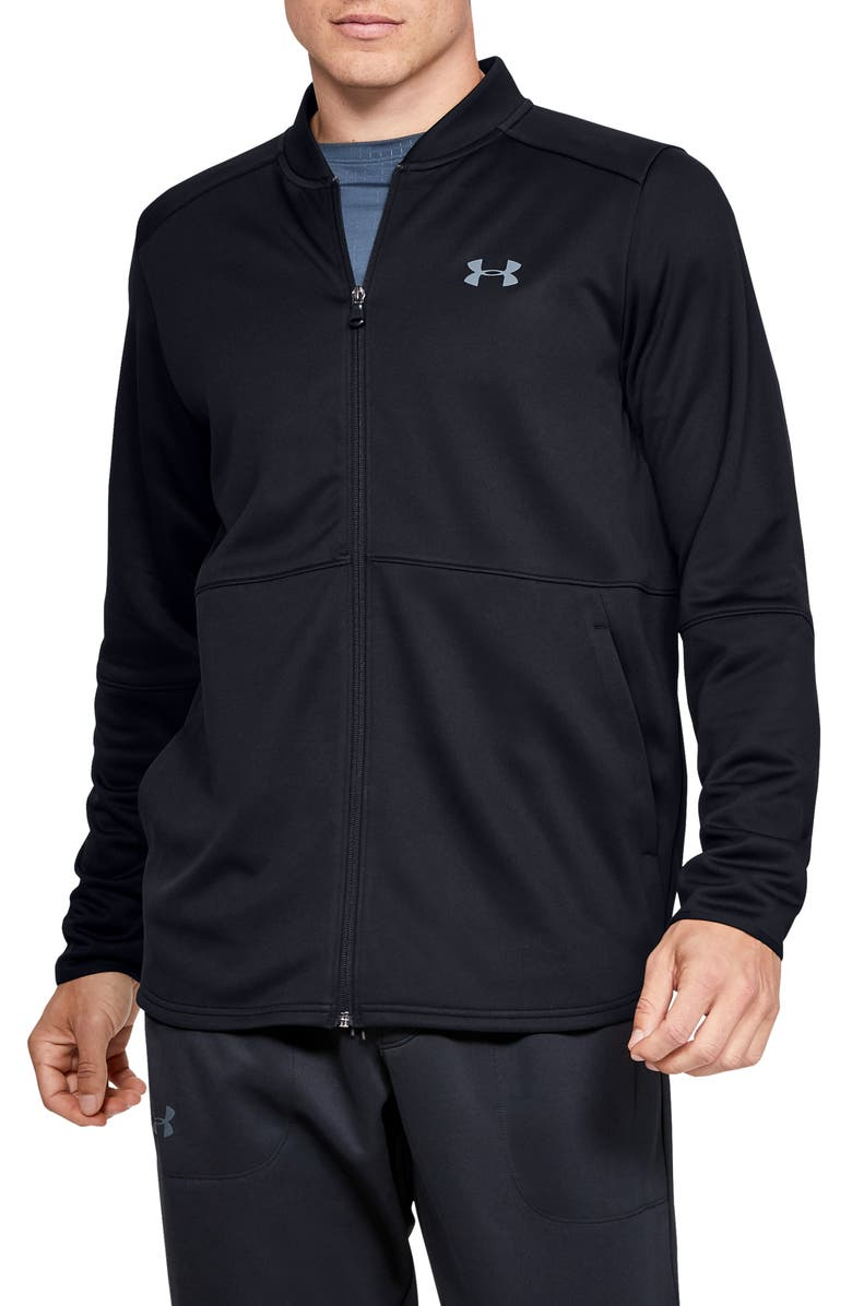 UNDER ARMOUR MK-1 Warm-Up Performance Bomber Jacket, Main, color, 001