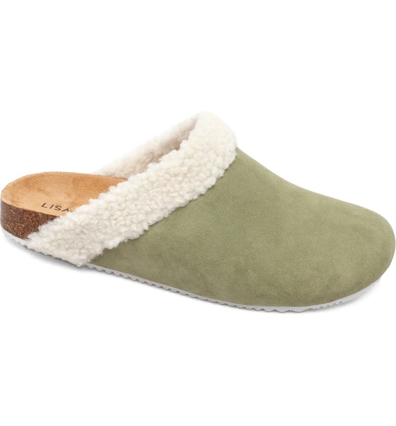 LISA VICKY Zeal Faux Shearling Mule, Main, color, OLIVE SUEDE