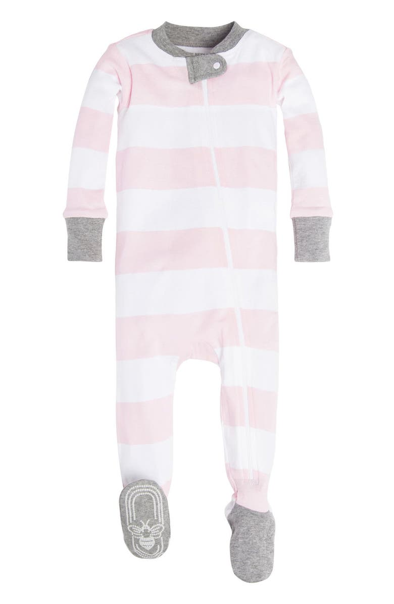 BURT'S BEES BABY Burt's Bees Rugby Stripe Fitted One-Piece Pajamas, Main, color, BLOSSOM