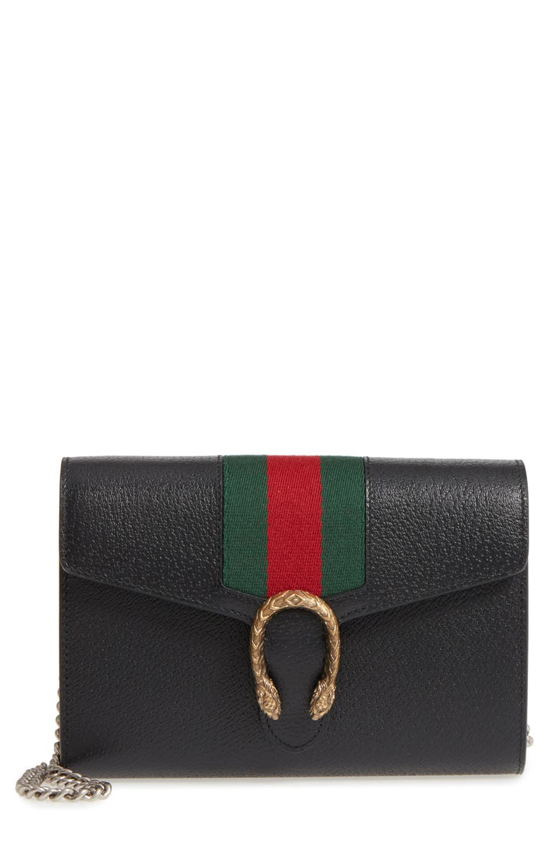 GUCCI Web Stripe Leather Wallet on a Chain, Main, color, 001