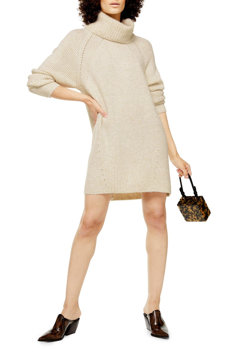TOPSHOP Turtleneck Sweater Dress, Main, color, 251