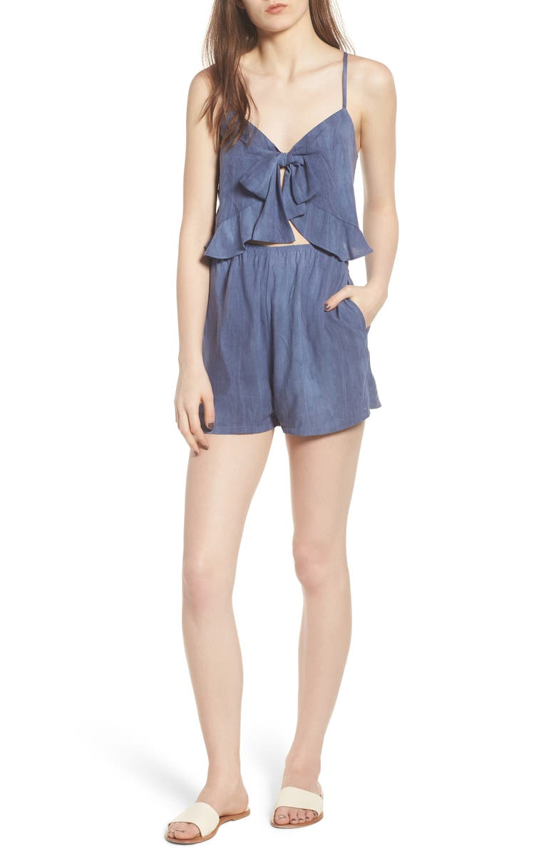 MIMI CHICA Tie Front Cutout Romper, Main, color, 020