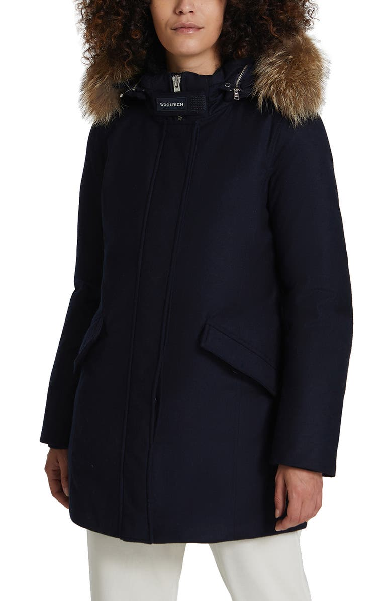 WOOLRICH Luxe Arctic Down Parka with Genuine Coyote Fur Trim, Main, color, MELTON BLUE