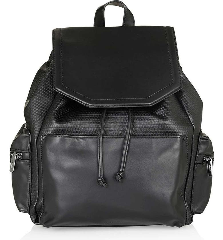 TOPSHOP Textured Faux Leather Backpack, Main, color, 001