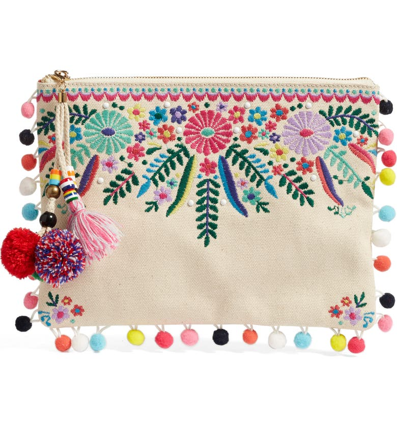 STEVEN BY STEVE MADDEN Embroidered Clutch, Main, color, 250