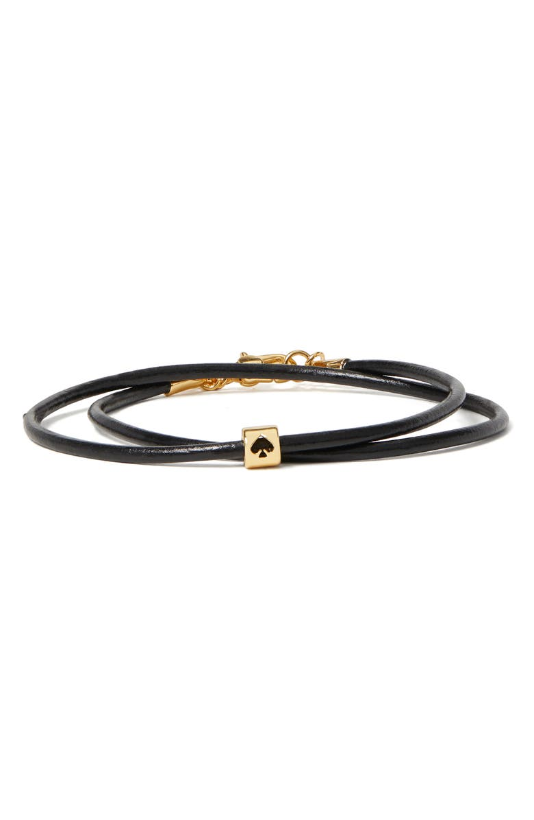 KATE SPADE NEW YORK wrapped-up leather bracelet, Main, color, 001