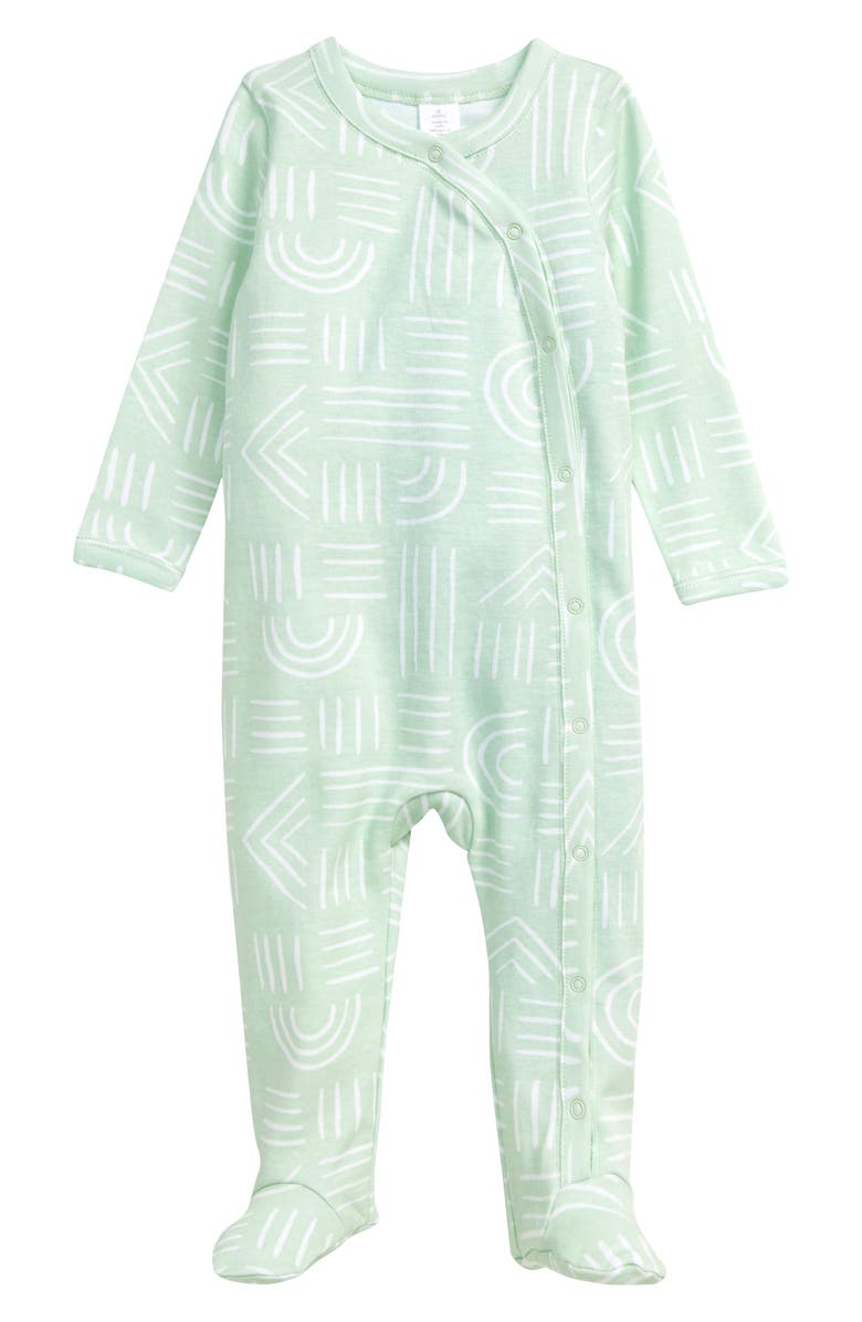 NORDSTROM BABY Print Footie, Main, color, TEAL RESORT RAINBOWS