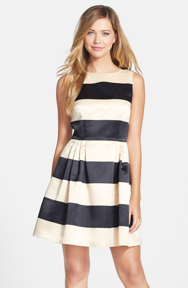 CECE by Cynthia Steffe Stripe Satin Fit & Flare Dress, Main, color, ABALONE