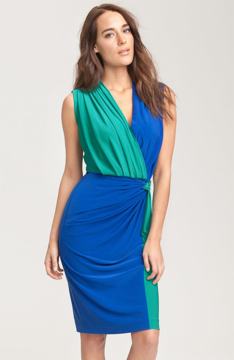 MAGGY LONDON Two Tone Sleeveless Jersey Dress, Main, color, 400