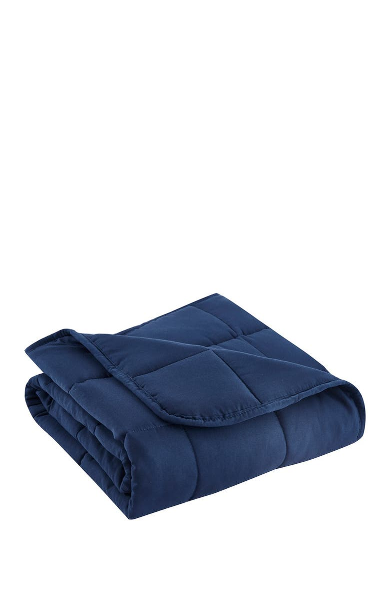 BON VOYAGE 5lb. Navy Microfiber Weighted Travel Throw, Main, color, BLUE