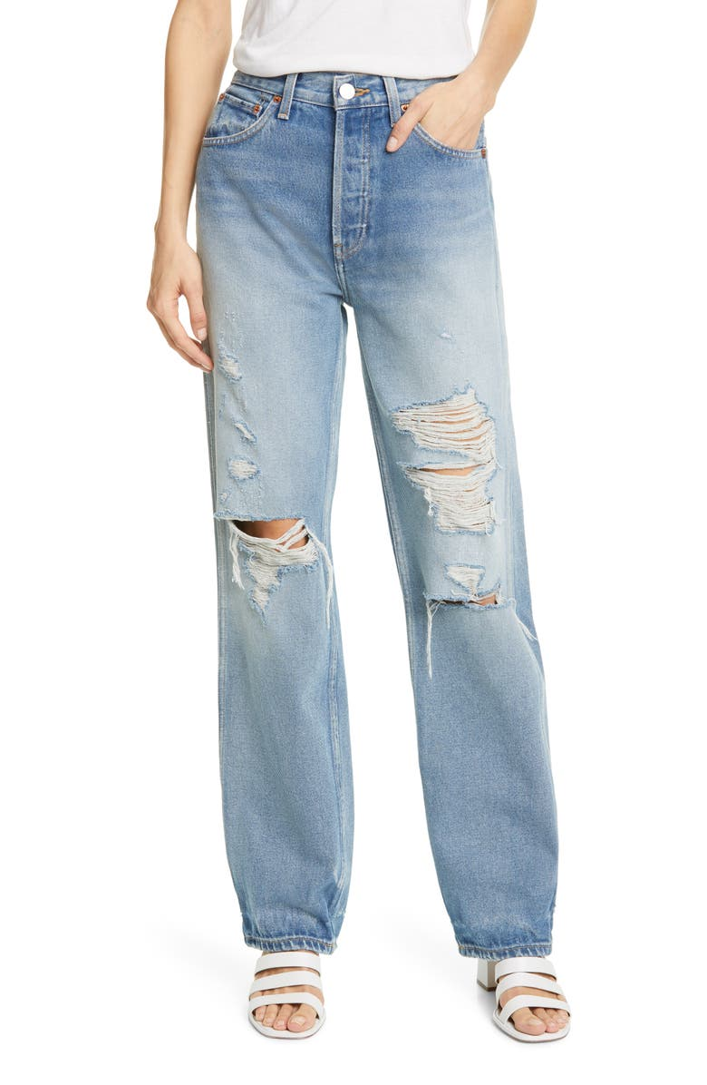 RE/DONE '90s Ripped High Waist Loose Straight Leg Jeans, Main, color, 420