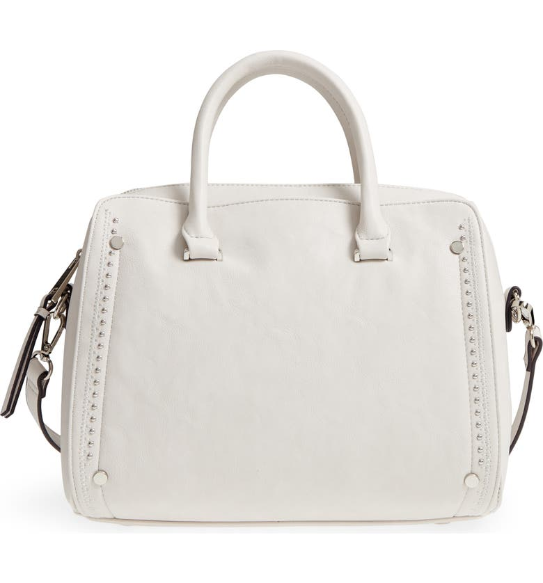 SOLE SOCIETY Speedy Studded Faux Leather Satchel, Main, color, LINEN